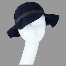 40s Navy Blue Felt Dobbs Fold Away Floppy Brim Hat