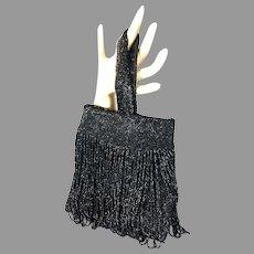 Vtg Black Beaded Fringed Wristlet Handbag