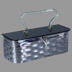 50s Silver Metal Weave Box Purse, Handbag