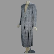 90s Silk Plaid Suit, Pleated Skirt and Long Jacket, Size 12