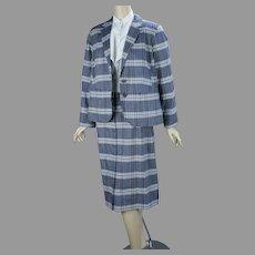Blue Plaid Cotton Pendleton Suit, Deadstock, Size 14