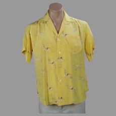 Bright Yellow IKE Behar Silk Shirt / Blouse, Unisex, Size 10