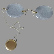 1900's Gold Filled Pince-Nez Spectacles with Ketcham & Mcdougall Retractable Pin