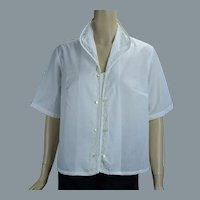 Vtg Deadstock White Cotton and Lace Button Front Blouse, Sz 40