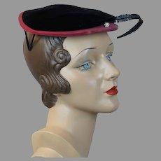 50s Black and Pink Velvet Cocktail Hat by Helen Erickson