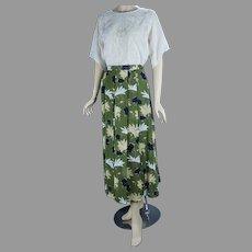 90s Olive Green Floral Geiger Midi Skirt