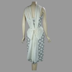 50s Ribbon Weave Draped Cocktail Dress, Strapless