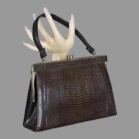 60s Brown Lizard Reptile Skin Handbag