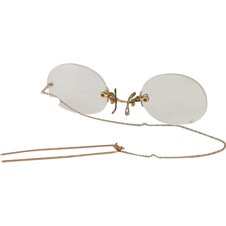 d91261a37fd6 Vintage Pince Nez Gold Filled Shuron Ladies Eyeglasses with Chain and    Alley Cats Vintage