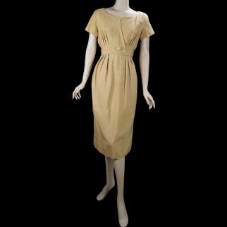 60s Gold Silk Day to Night Dress by Branell, B36 W27