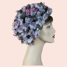 60s Lavender Flowered Turban Hat by Abraham & Straus, Sz 23