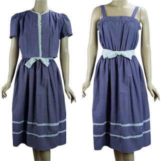 70s Blue and White Plaid Cotton Sundress with Jacket, Sz 7