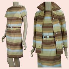 Vtg Butterscotch Stripe Dress and Jacket Suit by Valley Set, Sz 10
