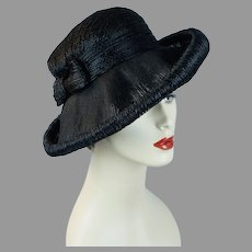 60s Black Wide Brim Asymmetrical Straw Hat by Amy