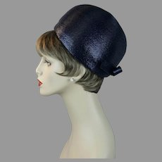 60s Navy Blue Bubble Crown Pillbox Hat by Kurt Jr