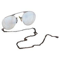 Vintage American Optical Pince Nez GF Gold Filled Z Fold Eyeglasses Silvertone with Sterling Silver Chain