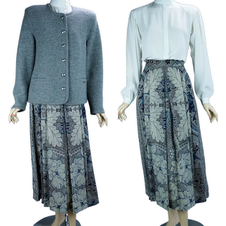 90s Gray Suit with Pleated Midi Skirt by Geiger, Size 8
