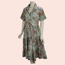 90s Floral Cotton Phool Dress, Sz 14
