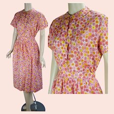 50s - 60s Pink and Yellow Print 2 Piece Dress Set, B42 W29