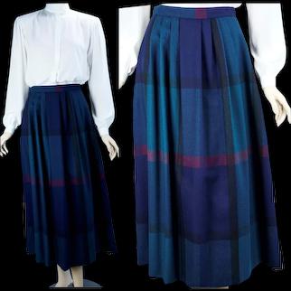 70s Navy Blue, Green and Black Soft Wool Plaid Midi Skirt by J S Meier, Sz 10