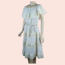 Vtg Beige Gauze Drop Shoulder Festival Dress, B44