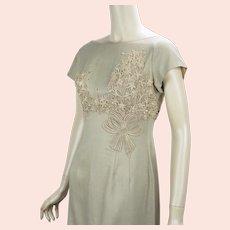 Vtg Khaki Linen Applique Sheath Dress by Ferman-OGrady,  Sz 14