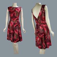 50s - 60s Dark Pink Polished Cotton Sundress, B40 W27