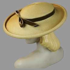 1950s Natural Straw Wide Brim Picture Hat