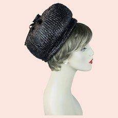 60s Black Straw Bubble Crown Pillbox Hat