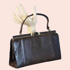 60s Brown Lizard Reptile Skin Handbag by Marguise Bags
