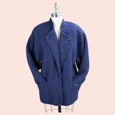 90s Blue Wool Geiger Jacket, Coat, European Sz 40, USA Sz 8