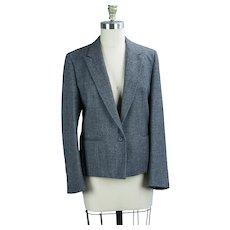 90s Black and White Wool Tweed Suit Jacket