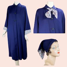1950s Navy Blue Rayon Gabardine Weather Coat with Hat