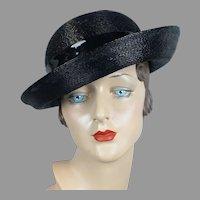 1960s Black Cello Straw Asymmetrical Breton Hat