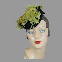 40s Black Felt Tilt Hat with Lime Green Ostrich Feathers