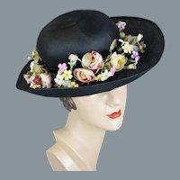 60s - 70s Black Wide Brim Floral Hat