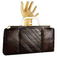 Vintage Envelope Handbag Brown Reptile Skin Reversible Handle | Clutch Shoulder or Handle