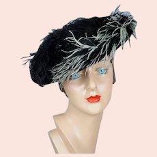 40s Black Straw Wide Brim Tilt Hat with Ostrich Feathers
