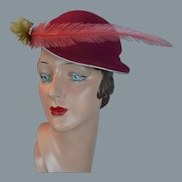 50s Pink and Tan Felt Hat by Gaebel Model