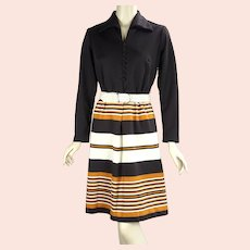 70s Brown, Cream and Tangerine Shirtwaist Dress by Toni Todd, Sz M