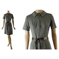 Vintage 1960s Dress Olive and Gray Abstract Mini by Windsor Knits Sz 10 B36 W28