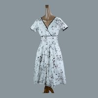 50s White and Black Abstract Full Skirt Cotton Dress by Carolyn Schnurer