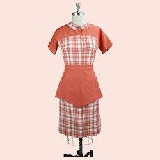 70s Tangerine Plaid Waitress Uniform Dress with Apron
