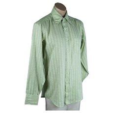 70s Schiaparelli Mens Light Green Shirt, Sz 15
