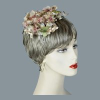 60s Beige and Pink Silk Floral Hair Ornament, Whimsey