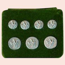 Vtg 7 Orvis Pewter Mallard Shank Buttons on Card