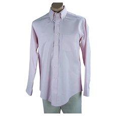90s Mans Pink Button Collar Cotton Oxford Dress Shirt, Sz 16 35