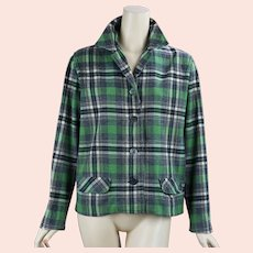 60s Green Plaid 49er Style Wool Jacket