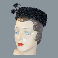 60s Deadstock Sally Victor Black Straw Toy Pillbox Hat NWT