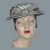 60s Taupe and Cream Abstract Stripe Boater Hat by Sally Victor